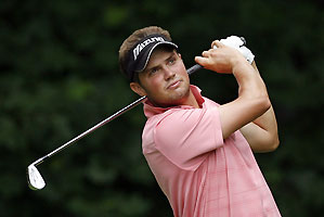 Jeff Overton made five birdies to finish tied for the lead at nine under.