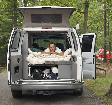 """MOVING VAN: Svendsen, 47, calls his vehicle his home. """"You don't do this for the money,"""" he says. """"You do it because it's in your DNA."""""""