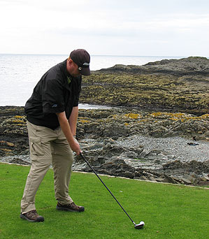 Coyne teed off on the first hole at Ardglass.