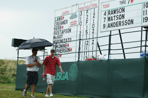 Play was suspended Friday afternoon due to thunderstorms.