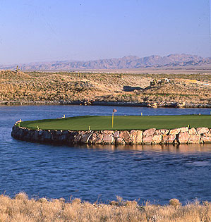 Dye's toughest Island-green par 3: No. 15 at the Wolf Course.