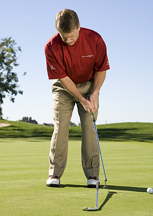 Try this drill on long, medium and short putts to generate perfect roll from any distance. Position ball here.