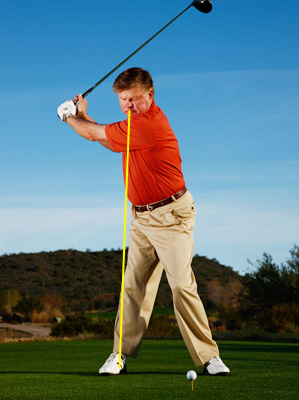Allow your head to move far enough in your backswing so that your nose points toward your right foot.
