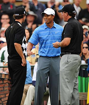 Woods, Mickelson and Scott met one the first tee.