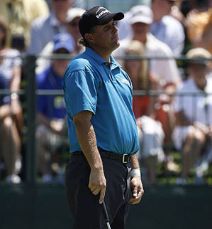 Phil Mickelson missed a putt on No. 15.