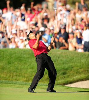 Woods made a stunning 12-foot putt on 18 to force a playoff on Sunday.