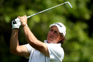 After Phil Mickelson met with the media Wednesday morning, he played a practice round with Jim Furyk, Justin Leonard and Darron Stiles.