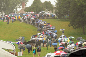 Fans got to see a few hours of play before heavy rain suspended the first round.