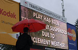 Heavy rain halted play around 11:30 a.m. on Thursday.