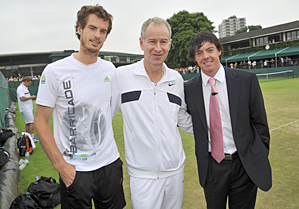 Rory McIlroy met with Andy Murray, left, and John McEnroe, center, at Wimbledon on Tuesday.