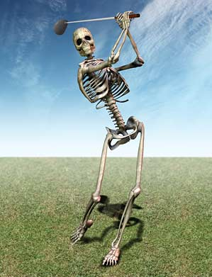 SCARY SLOW: Our writer on the 18th tee.