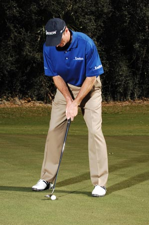 75-foot Putt: Play the ball back to guard against catching it thin with a longer stroke.