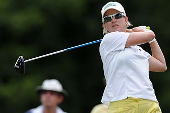 Karrie Webb  tees off in the second round of the 2014 Ladies Masters at Royal Pines Resort on Australia's Golf Coast on Friday.