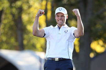 Martin Kaymer holed a par putt to win his match and the Ryder Cup for Europe.