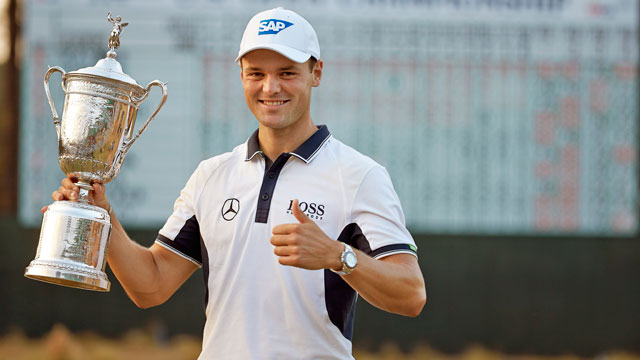 Martin Kaymer smiles with the 114th U.S. Open trophy.
