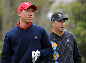 Allenby and Kim faced each other during the Sunday singles matches of the Presidents Cup.