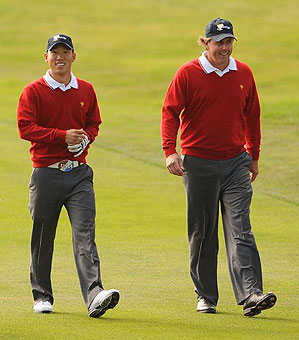Phil Mickelson and Anthony Kim came back to defeat Mike Weir and Tim Clark on Thursday.