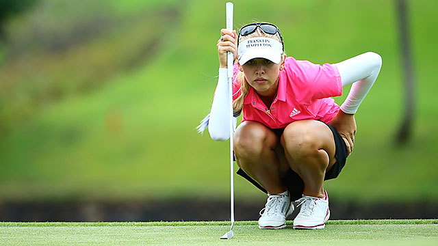 Jessica Korda is the co-leader entering Sunday at the Blue Bay LPGA.