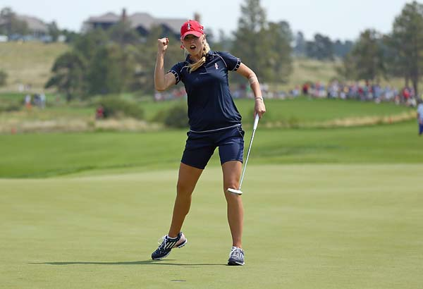 Jessica Korda celebrates after making the winning putt on the 16th hole in her 3&2 win during the Friday morning foursomes matches at 2013 Solheim Cup. Korda and Morgan Pressel teamed up for the only U.S. win Friday morning.