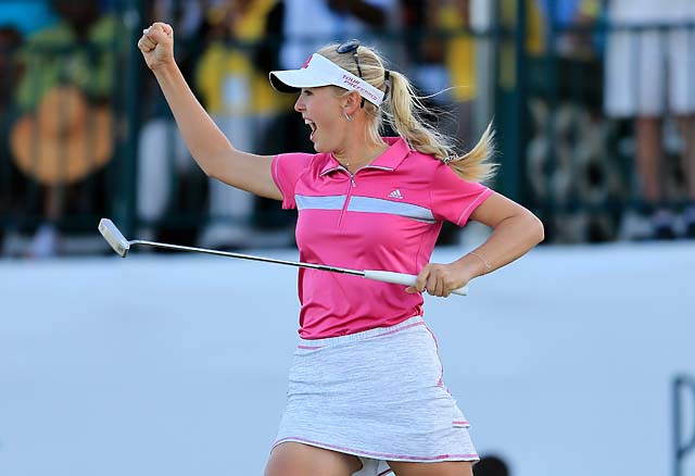 Jessica Korda celebrates after winning the final round of the Pure Silk Bahamas LPGA Classic at the Ocean Club course on Sunday.