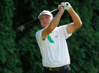 Lance Ten Broeck normally caddies for Tim Herron, but he is playing this week at the U.S. Senior Open.