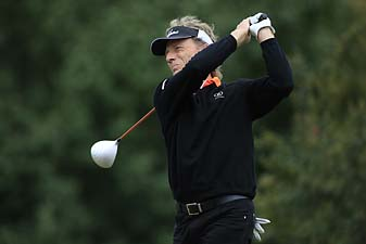 Bernhard Langer of Germany hits his drive on the fifth hole during the final round of the SAS Championship held at Prestonwood Country Club on Oct. 13, 2013 in Cary, North Carolina.