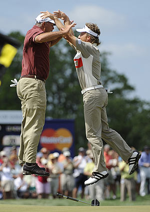 Tom Lehman and Bernhard Langer celebrated on the first playoff hole.