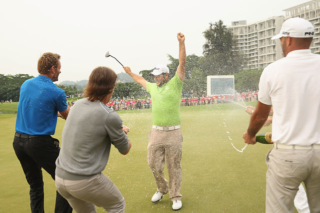 Alexander Levy and friends celebrates Levy's win at the China Open on Sunday.