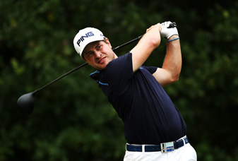 David Lingmerth made an eagle on 16 and a birdie on 17 before play was suspended.