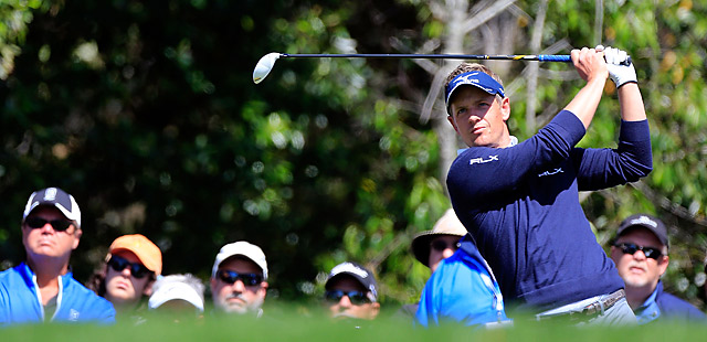 Luke Donald dropped shots on three of his last four holes to shoot 70 in the first round.