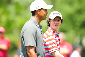 Rory McIlroy, right, with Tiger Woods at the 2010 Memorial.