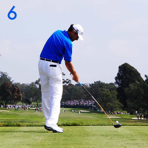 6. At impact, Davis explosively releases all of his stored energy. His speed, center contact and shallow angle of approach combine to give him 300-plus-yard drives. This is how Davis continues to keep pace with the young guns on the PGA Tour.