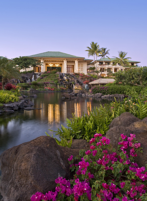 Sunset at the Grand Hyatt Kauai Resort & Spa.
