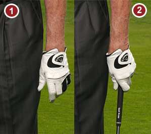 The way your left hand naturally hangs is the way you should place it on the handle.