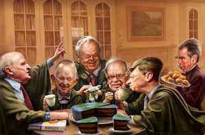 From left: Jack Welch, William Clay Ford Sr., Arnold Palmer, Warren Buffett, Bill Gates, George W. Bush.