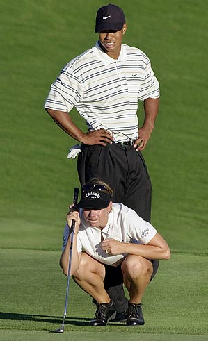 "Annika Sorenstam and Tiger Woods played together against Karrie Webb and David Duval at ""Battle at Bighorn"" in 2001."