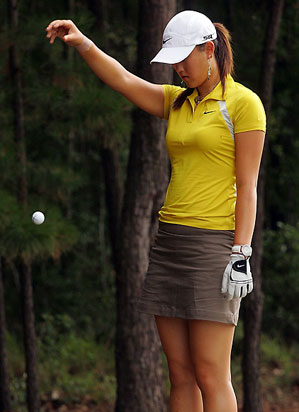Before withdrawing with a supposed wrist injury, Michelle Wie was playing her worst round as a professional.