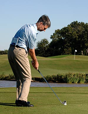 Keep the book flat against your back when you swing to stop thin and fat contact.