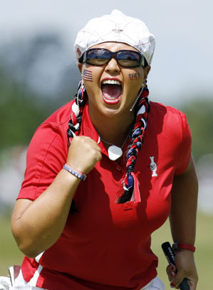 Rebel yell: Kim went 3-1 at the 2009 Solheim Cup, leading Team USA to an emotional win.