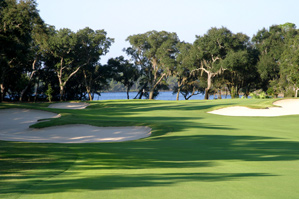 The 15th hole at Greg Norman's Shark's Tooth.