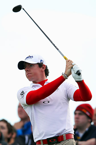 "Rory McIlroy bogeyed two of his last three holes for a 70. <strong><a href=""http://www.golf.com/photos/2012-irish-open/rory-mcilroy-round-1-irish-open"">More photos</a></strong>"