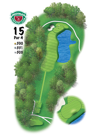 Medinah's redesigned 15th hole features a new lake to the right of the green.