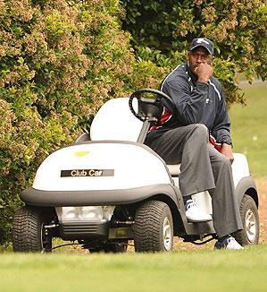 Michael Jordan followed groups on Thursday in a golf cart offering motivation.