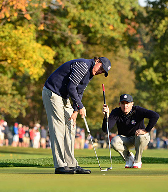 """Phil Mickelson and Keegan Bradley remained the hottest pairing for the U.S. side, routing Lee Westwood and Luke Donald, 7 and 6. Both are <a href=""""http://www.golf.com/leaderboard/ryder-cup/yr/2012""""><u>sitting out the afternoon</u></a>."""