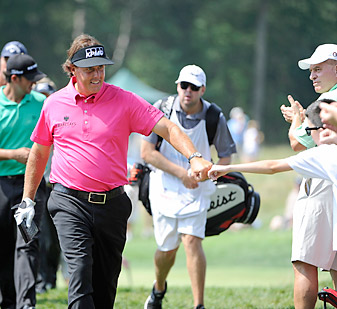 Mickelson shot a three-under 68 in front of hordes of adoring fans Thursday at Bethpage Black.