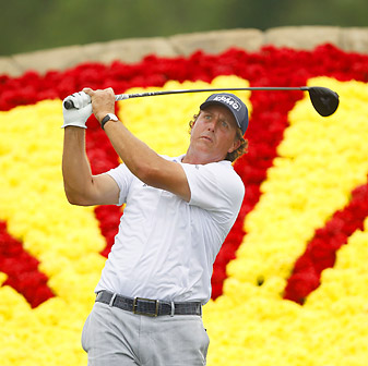 Phil Mickelson is two shots back after a second-round 70.