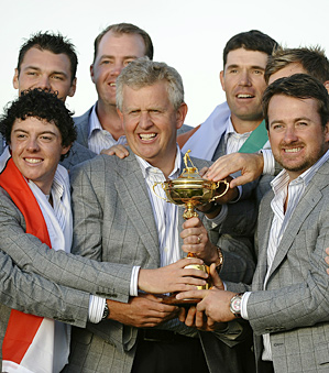 Colin Montgomerie and the victorious European Ryder Cup team.