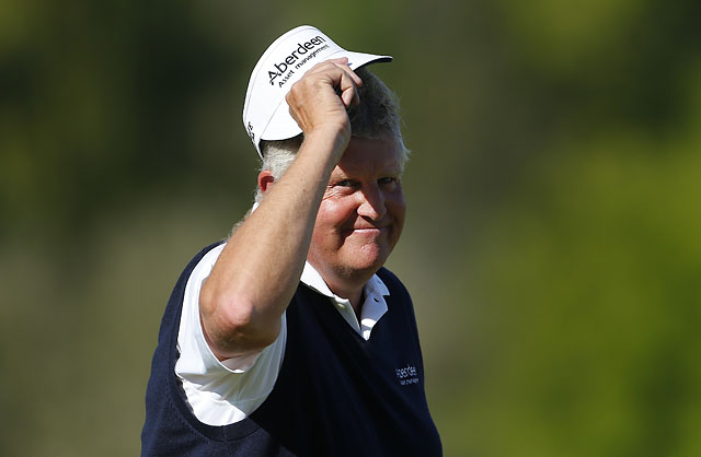 Colin Montgomerie acknowledges the gallery on the 18th hole Sunday at the Senior PGA Championship in Benton Harbor, Mich.
