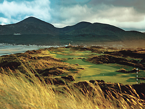 """The Mourne Mountains tower over the third at County Down. <span class=""""picturesource"""">Angus Murray</span>"""