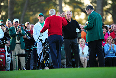 Palmer and Nicklaus hit the ceremonial first shot.